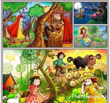 Детские сказки, сказочные герои и персонажи - PSD исходник ...
