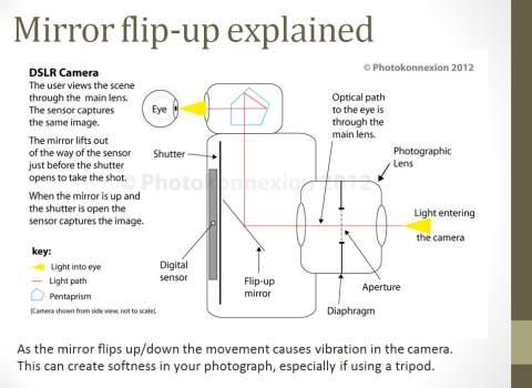 Diagram explaining the mirror lock-up function.