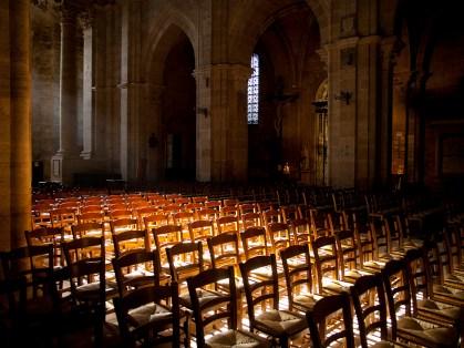 Sun shines inside an empty church in France