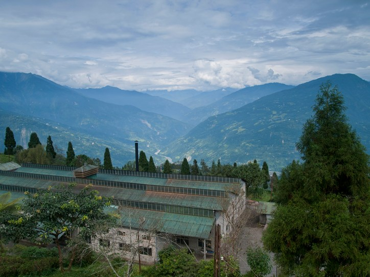 Factory at a tea plantation in Sikkim (India) with a beautiful view over the Himalayas