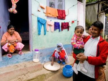DARJEELING - October 2010: Proud family in the slums of Darjeeling, poverty is a big problem in India - October 2010 Darjeeling, India