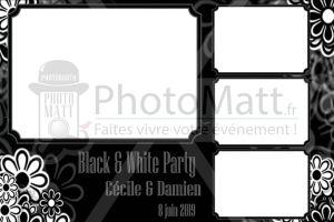 Thème photobooth borne photo selfie photomatt mariage noir et blanc blanck and white chic