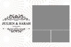 Impression 10x15cm avec 1 grande photos, 2 petites et un grand logo à gauche