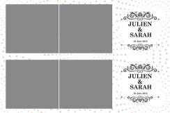 Deux bandes horizontales 5x15cm avec 2 photos au format carré
