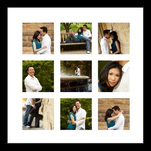 framed images from an engagement session