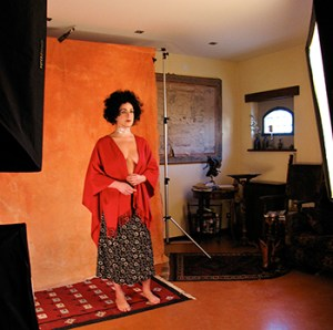 Katia psyches herself for the shoot