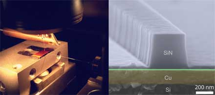 Nanoscale copper plasmonic waveguides on a silicon chip in a scanning near-field optical microscope (left) and their image obtained using electron microscopy (right).