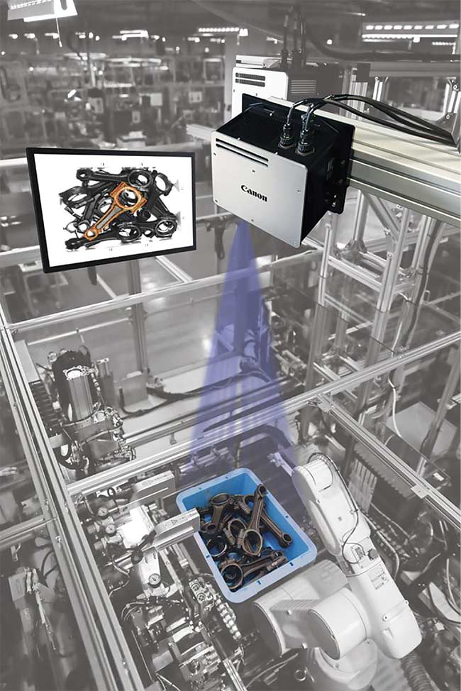 Random bin picking plays a vital role in modern manufacturing environments. Courtesy of Canon.