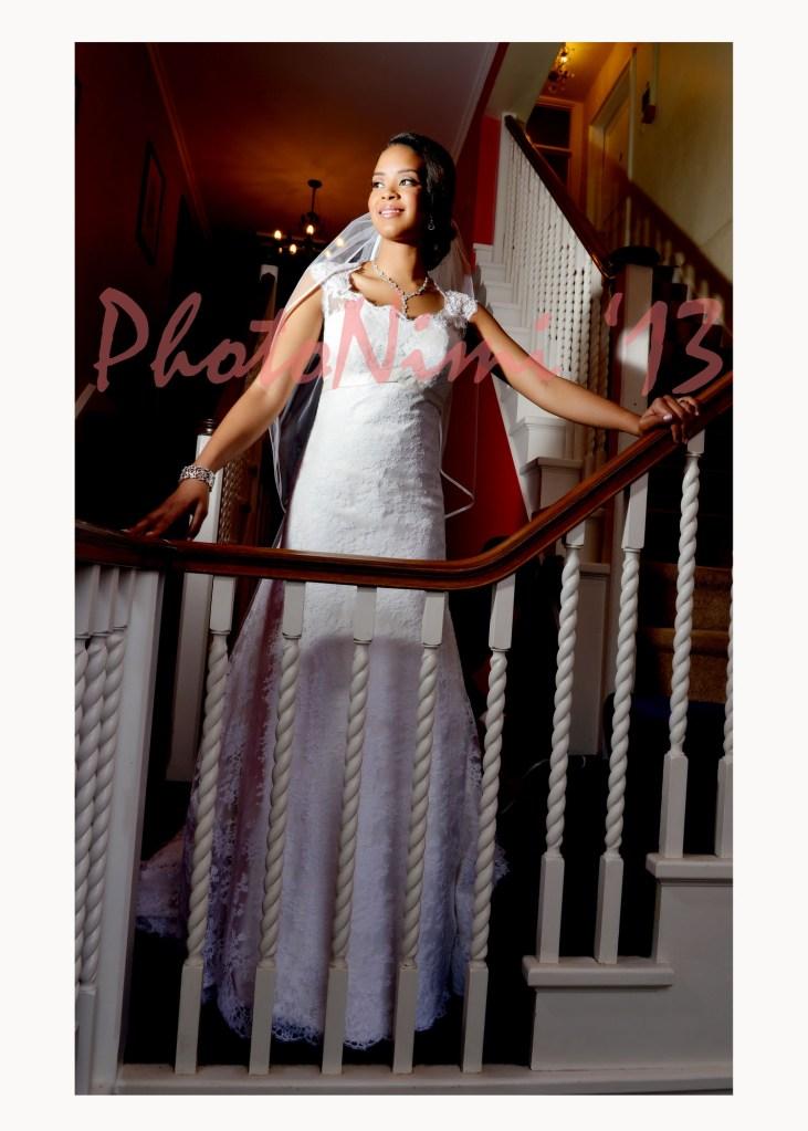 bride, in the stairway
