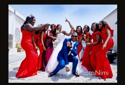 bride, bridegroom, groom & bridal train