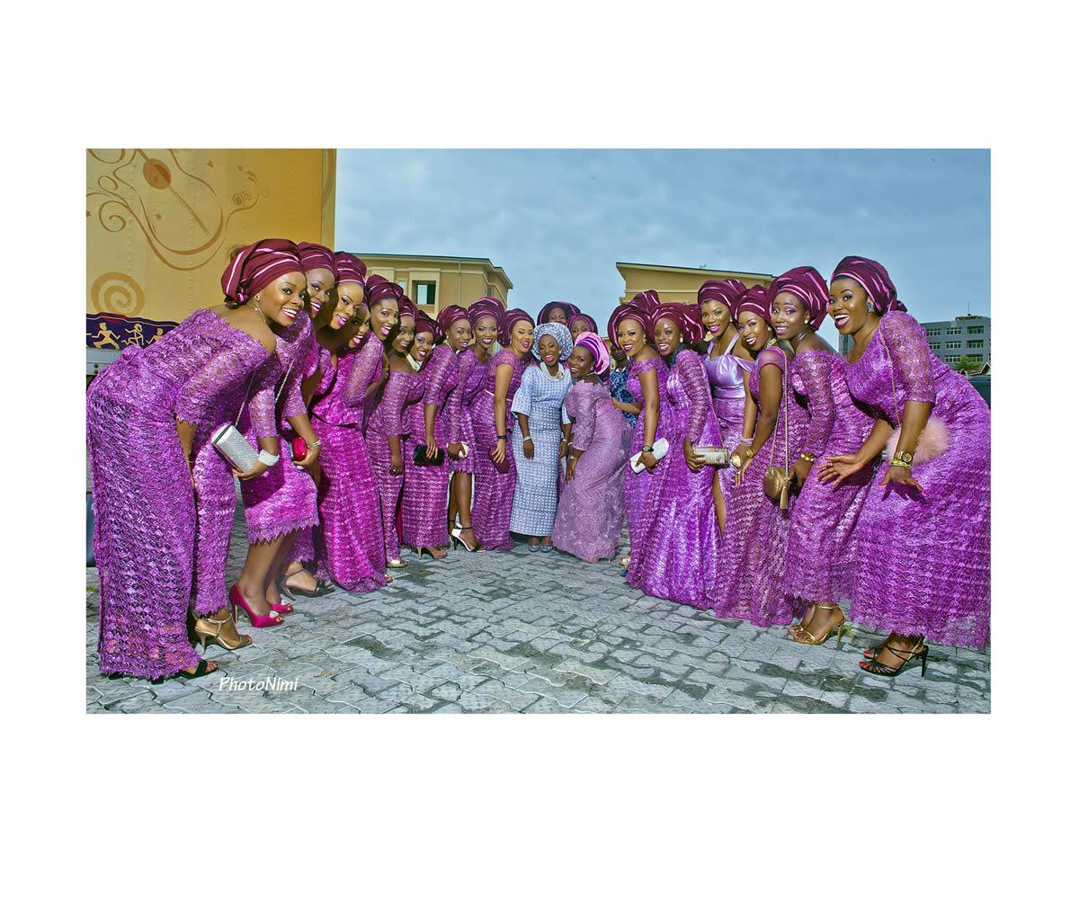 yoruba bride and friends, yoruba traditional wedding attire