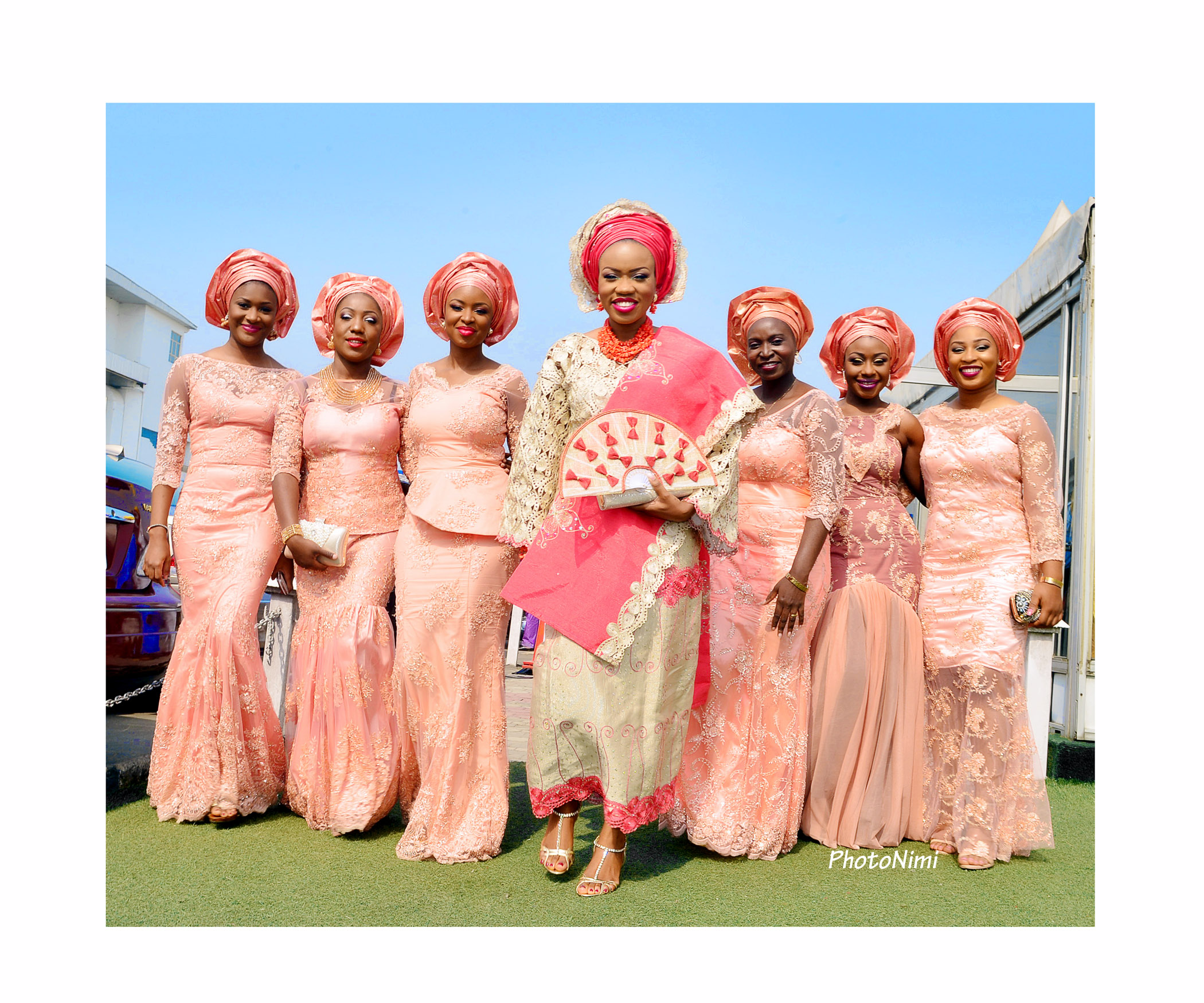 bride and friends in traditional yoruba attire
