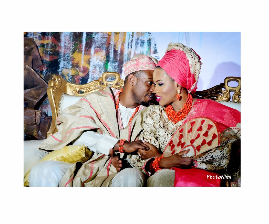 tobi & niyi in traditional yoruba attire, traditional wedding
