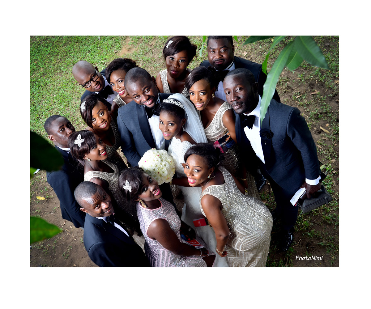 bridegroom, bride, groomsmen and bridal train