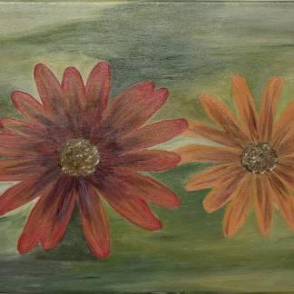 FLORI PORTOCALII- pictură, acrilic pe pânză -