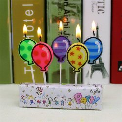 A packet of 5 Balloon Candles in different colours and patterns