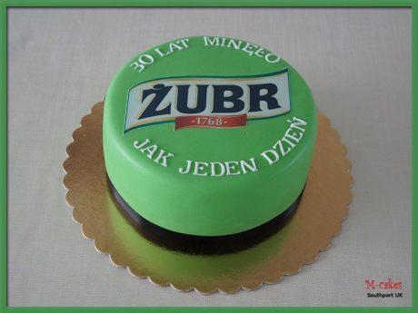 Round, green Zubr cake