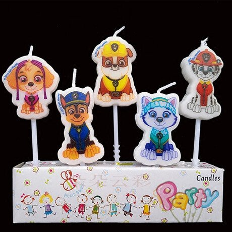 5 Paw Patrol Birthday candles showing different characters
