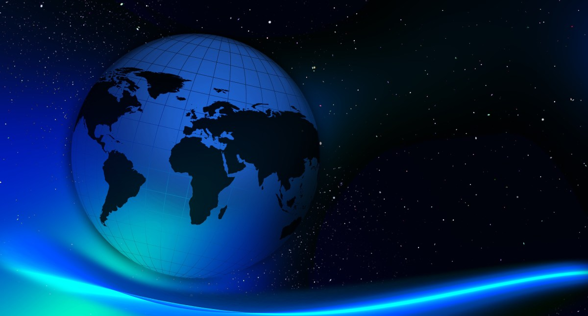 Abstract globe of the world and stars background