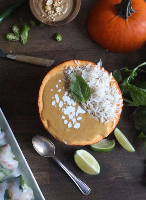 Orange Pumpkin Filled with Pumpkin Curry & Rice