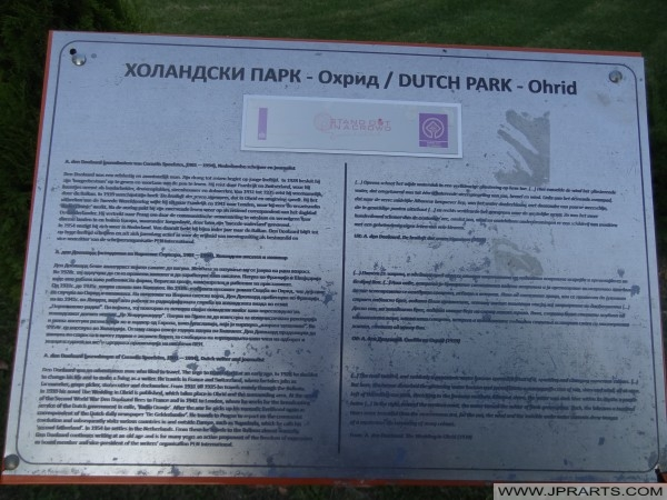 Informatiebordje Nederlandse Park Ohrid (Macedonië)