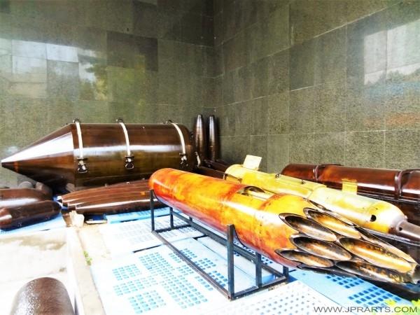 Différents types de bombes américaines dans le musée des restes de guerre à Ho Chi Minh ville, Vietnam
