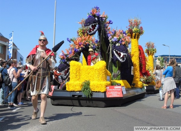 Greek Mythology during the Flower Parade in the Bulb Region, Holland