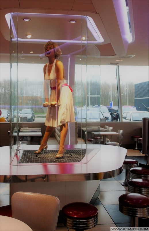 Life-Size Marilyn Monroe in the McDonald's in Best, The Netherlands