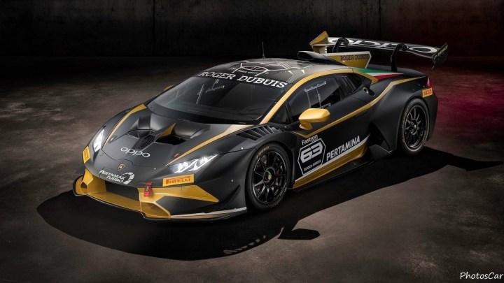 Lamborghini Huracan Super Trofeo Evo Collector 2019 spécial noir et or.