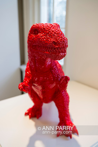 Roslyn, New York, USA. January 2, 2015. Dinosaur (2006) in red polyresin, by Chinese artist Sui Jianguo (b. 1956) is displayed at the Nassau County Museum of Art China Now and Then Exhibit.