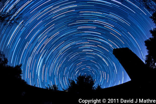 North View Star Trails. Summer Night in New Jersey. Image taken with a Nikon D3 and 16 mm f/2.8 mm Fisheye lens (ISO 400, 16 mm, f/4, 59 sec). Composite of 88 images combined using the Startrails program. (David J Mathre)