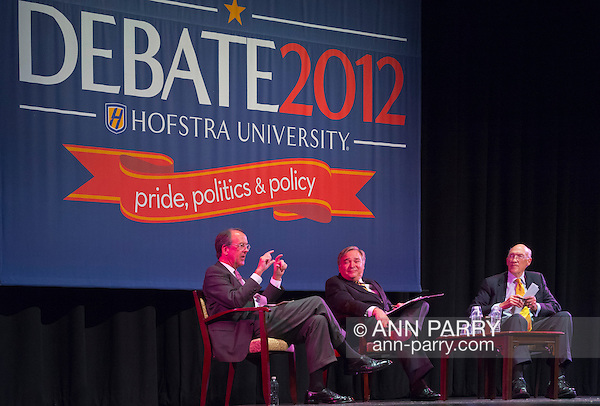 """Oct. 15, 2012 - Hempstead, New York, U.S. - At left, former White House Chief of Staff ERSKINE BOWLES (Democrat), and, at right, former Senator ALAN SIMPSON (Republican), co-chairmen of the National Commission on Fiscal Responsibility and Reform, speak at Hofstra University about ?America's Debt and Deficit Crisis: Issues and Solutions,? with (at center) moderator PATRICK SOCCI, Dean of Hofstra's Zarb School of Business. This event with the Simpson-Bowles non-partisan U.S. fiscal debt reduction plan co-leaders, was part of """"Debate 2012 Pride Politics and Policy"""" a series of events leading up to when Hofstra hosts the 2nd Presidential Debate between Obama and M. Romney, the next night, October 16, 2012, in a Town Meeting format. (Ann Parry/Ann Parry, ann-parry.com)"""