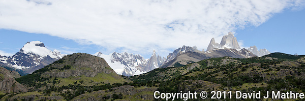 Patagonia Panorama. Image taken with a Nikon D3x and 16-28 mm f/4 VR lens (ISO 100, 31 mm,  f/11, 1/200 sec). Single image HDR with DxO Pro. (David J. Mathre)