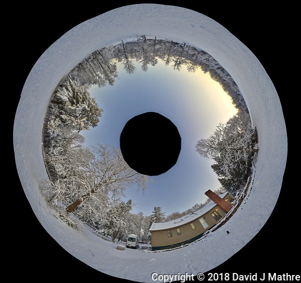 Snowy Backyard Inverse Little Planet Panorama. Composite of 22 images taken with a Leica T camera and 11-23 mm wide-angle zoom lens (ISO 200, 15 mm, f/5.6, 1/30 sec). Raw images processed with Capture One Pro and AutoPano Giga Pro. (David J Mathre)