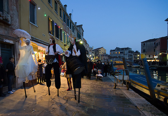 Today saw the opening of the Venetian Carnival, which runs till February 12th. Members of  French theatre company, Ilotopie,performed on the Cannaregio Canal and along its banks (Marco Secchi)