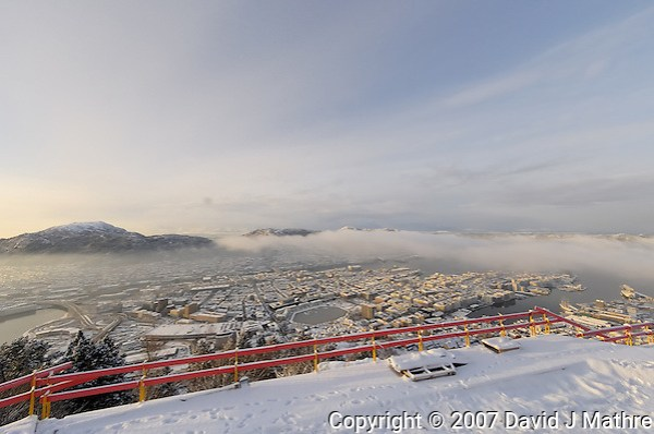 Winter View of Bergen from the top of Mount Fløyen. Image taken with a Nikon Dxs and 10.5 mm f/2.8 fisheye lens (ISO 200, 10.5 mm, f/8.5, 1/320 sec) (David J. Mathre)