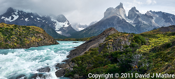 Salto Grande Rapids just before the Waterfall in Torres del Paine National Park, Chile. Composite of three images taken with a Nikon D3x camera and 24-120 mm f/4 lens (ISO 100, 34 mm, f/11, 1/30 sec). Raw images processed with Capture One Pro, AutoPano Giga Pro, Focus Magic, and Photoshop CC. (David J Mathre)