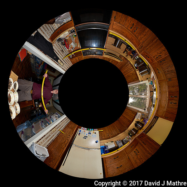 The Kitchen Before Renovation. Little Planet View (from below) of the Kitchen. Composite of 25 images taken every 15 degrees with a Fuji X-T1 camera and 16 mm f/1.4 lens (ISO 400, 16 mm, f/8, 1/60 sec), popup flash. Image processed with Capture One Pro and AutoPano Giga Pro (David J Mathre)