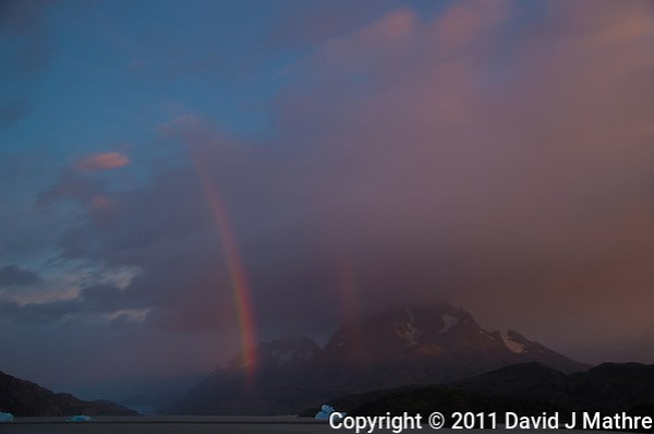 Early Morning Rainbow, Lago Grey, Torres del Paine, Chile. Image taken with a Nikon D3s and 28-120 mm f/4 lens (ISO 200, 31 mm, f/5.6). HDR composite of 4 images using Photoshop CS5 HDR Pro (David J Mathre)