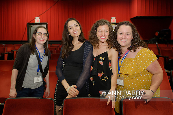 Bellmore, NY, USA. July 18, 2018. L-R, STEPHANIE DONNELLY, director and writer of short film The Adventures of Penny Patterson; AJNA JAI, actor playing Penny Patterson; BETHANY NICOLE TAYLOR, lead actress in short film Joe; and SHARA ASHLEY ZEIGER, producer and writer of film Joe, get together after final screenings at LIIFE 2018, the Long Island International Film Expo. (© 2018 Ann Parry/Ann-Parry.com)