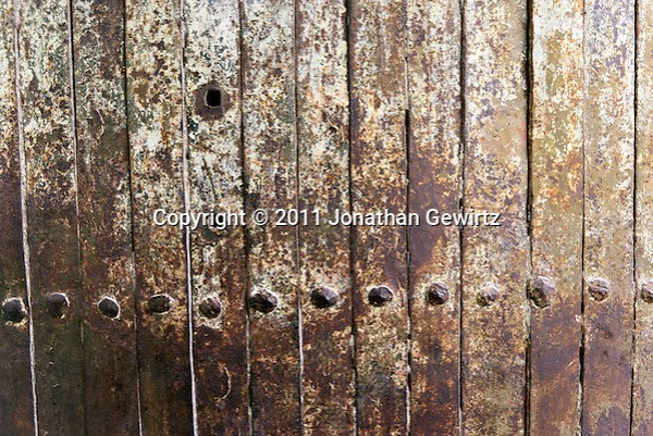 Antique wrought-iron door with rivets, Jerusalem. (Jonathan Gewirtz)