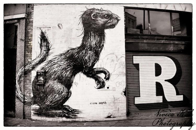 Street art by Roa and Eine, Shoreditch, East London (Viveca Koh)