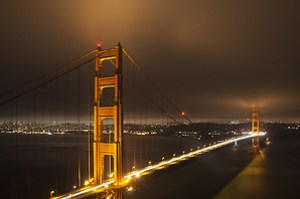 Golden Gate Bridge and San Francisco at night from Battery Spencer, Golden Gate National Recreation Area, Marin Headlands, California (Roddy Scheer)