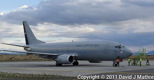 Chilean Air Force B-737 Refugee Transport at Puerto Natales Regional Airport (David J Mathre)