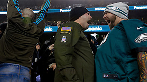 Jesse McLean and Bob Nadler of Toms river, N.J., react to an Eagles play. Image published as part of photo essay on WHYY's NewsWorks.org - http://www.newsworks.org/index.php/local/item/89516-young-champions-celebrated-at-eagles-game-photos (©2015, All Rights reserved - Bastiaan Slabbers/BasSlabbers.com) ((photo by Bastiaan Slabbers))