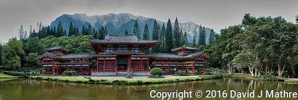 Panorama of the Byodo-In Temple in Kaneohe on the island of Oahu. Composite of six images taken with a Nikon 1 V3 camera and 10 mm f/2.8 lens (ISO 160, 10 mm, f/5.6, 1/125 sec). Raw images processed with Capture One Pro, and the composite panorama created using Kolor AutoPano Giga Pro. (David J Mathre)