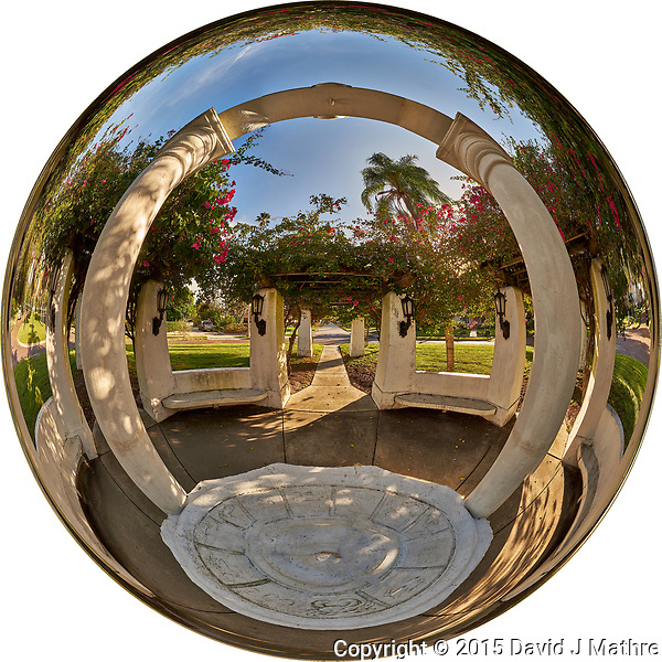 Mirror Ball View of Granada Terrace Park in St. Petersburg, Florida. Composite of 27 images taken with a Fuji X-T1 camera and 8 mm f/2.8 fisheye lens. Images processed with AutoPano Giga Pro. (David J Mathre)