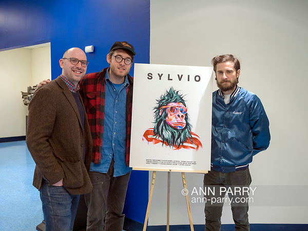 Hempstead, New York, USA. October 30, 2017. Film event of screening of SYLVIO, a fantasy feature film, and Q and A with ALBERT BIRNEY, KENTUCKER AUDLEY, and moderator RUSSELL HARBAUGH, is hosted by Radio, Television, Film Department of Lawrence Herbert School of Communication of Hofstra University.