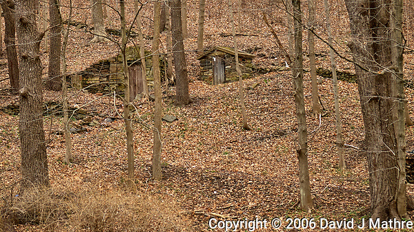Abandoned wood and stone building (ice house?) along Hollow road in Skillman, New Jersey. Image taken with a Nikon D200 camera and 17-55 mm f/2.8 lens. (David J Mathre)