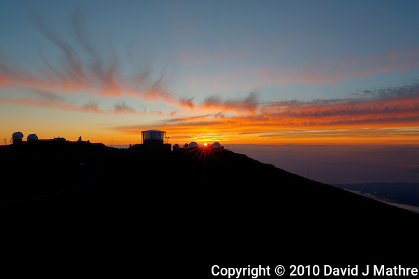 Sunset over Haleakala Satellite Tracking Station from Pu'U'Ula'Ula peak in Haleakala National Park, Maui Hawaii. Image taken with a Nikon D3x and 24 mm f/3.5 PC-E lens (ISO 100, f/16, 1/10 sec). Photomatix HDR (5 images) (David J Mathre)